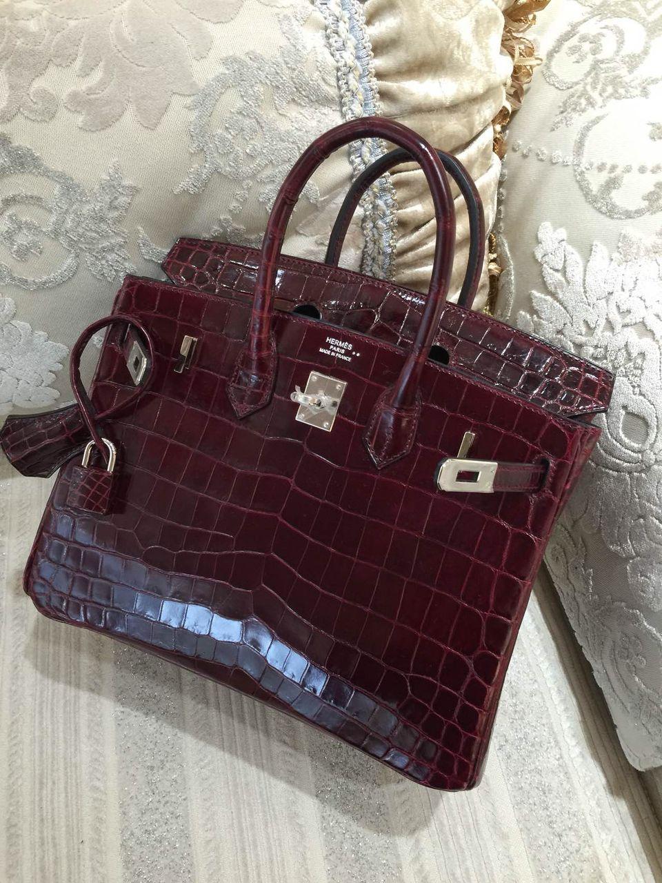 4c2e67b40c9e Shoe Bag · Sacs de Créateur - Hermes Birkin 25CM Shiny Crocodile Niloticus  Lisse Silver Palladium Hardware 67 Q