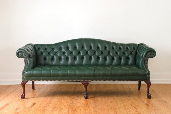 Vintage Green Leather Camelback Chesterfield Clawfoot Sofa Best Leather Sofa Green Leather Sofa Furniture
