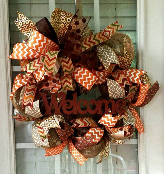 Check out this item in my Etsy shop https://www.etsy.com/listing/238861482/deco-mesh-burlap-fall-welcome-wreath