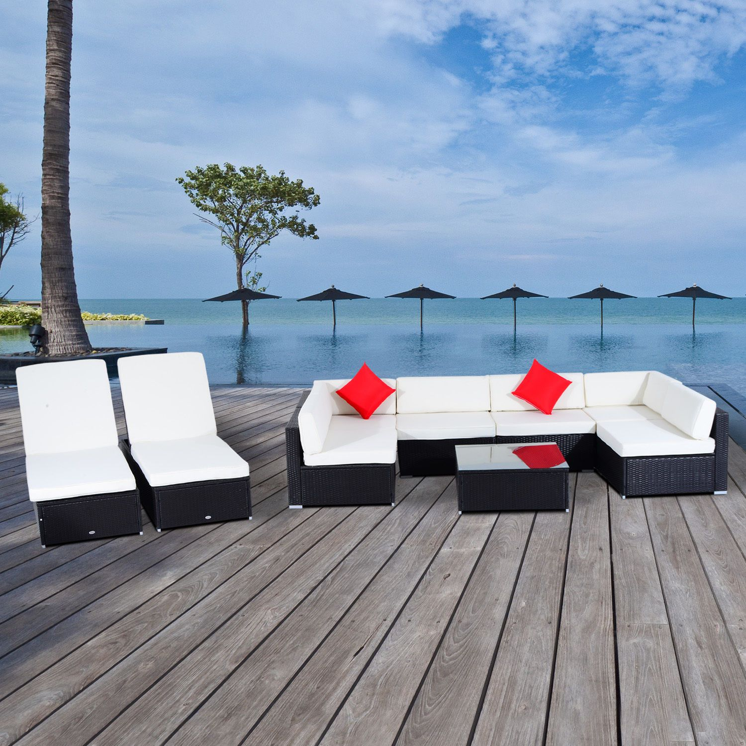 Outsunny 9 Piece Outdoor Rattan Wicker Sofa Sectional Patio Furniture Lounge Set