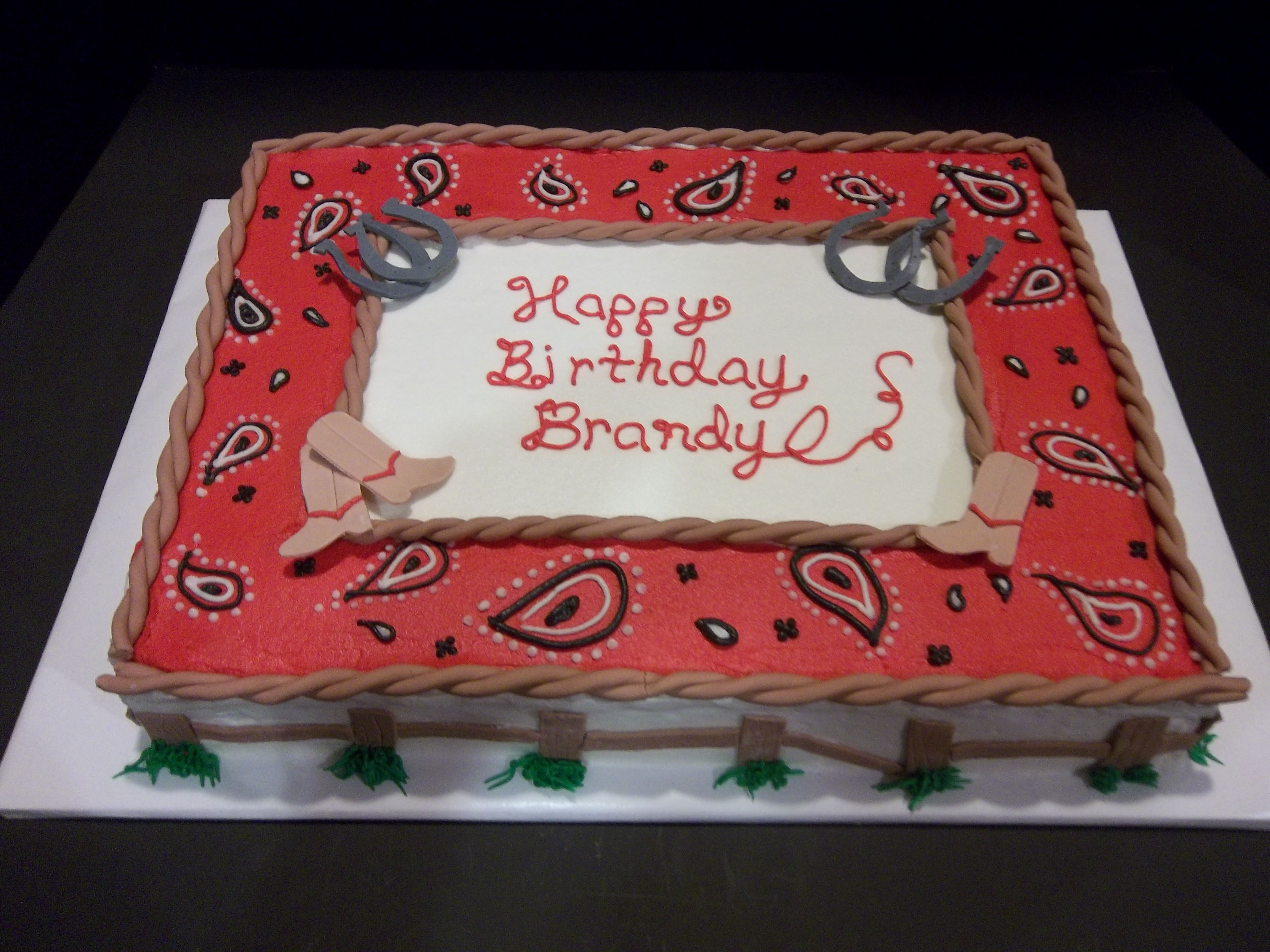 Fantastic Western Themed Birthday Sheet Cake Covered In Buttercream With Funny Birthday Cards Online Chimdamsfinfo