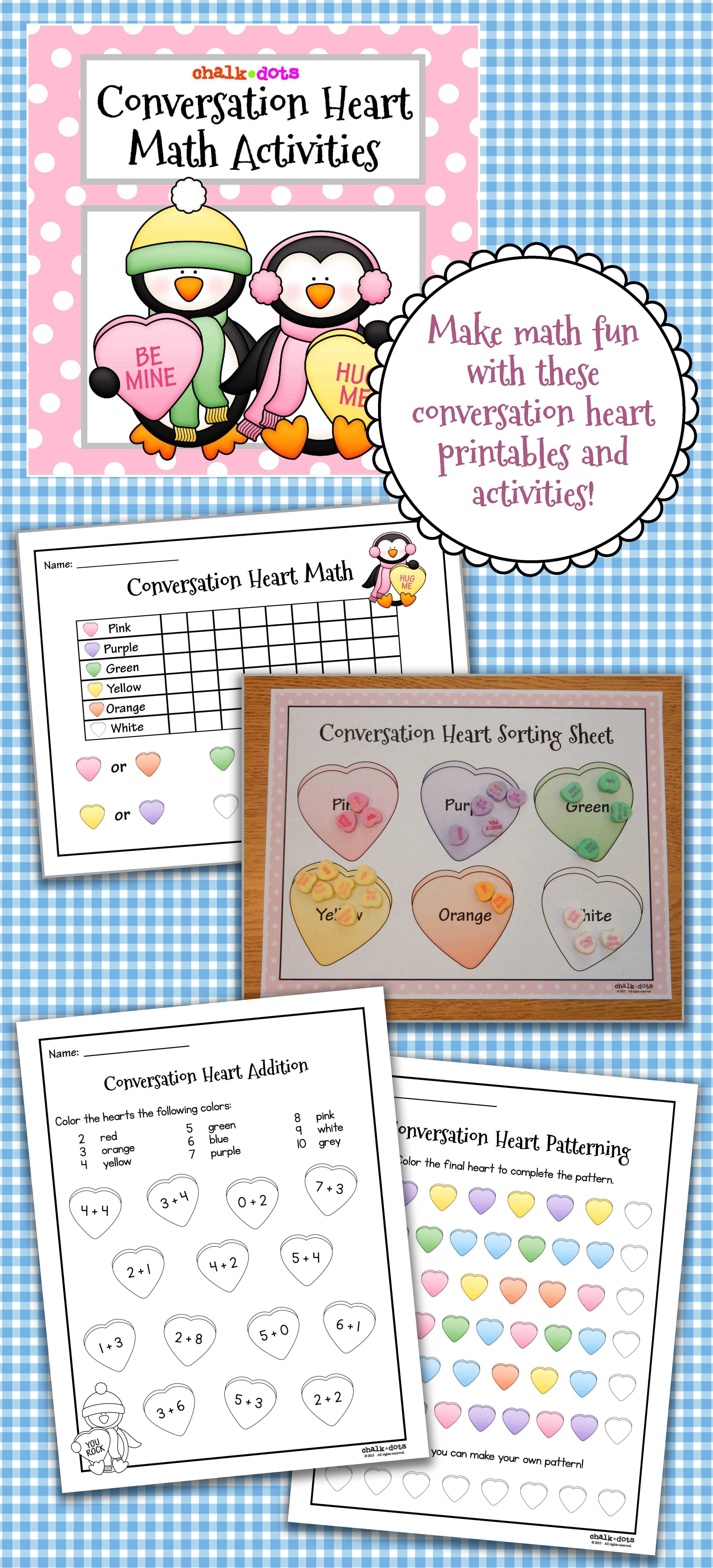 Conversation Heart Math Teaching Ideas