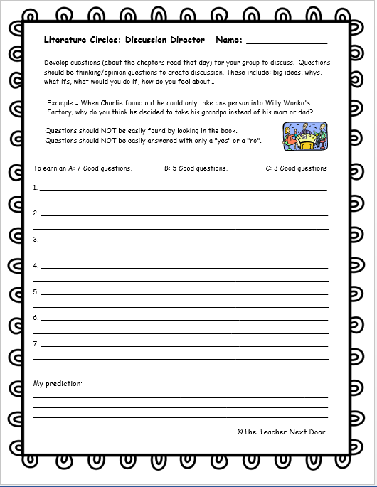 This Discussion Director Student Worksheet Is From The Literature