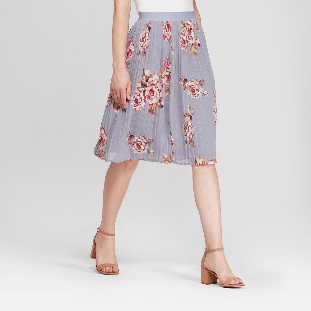 65534e82c4 Women s Floral Pleated Chiffon Skirt - A New Day Light Blue Xxl ...