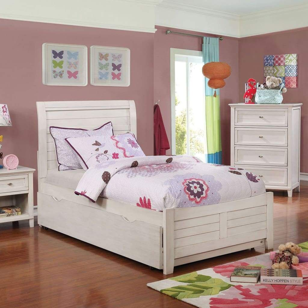 Wooden Full Sleigh Bed with Trundle, White By Casagear