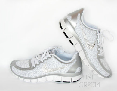 Women's Nike Free 5.0 v4 WhiteMetallic SilverPure Platinum Cheetah 2.0 with  Swarovski crystal details Shoes 2015