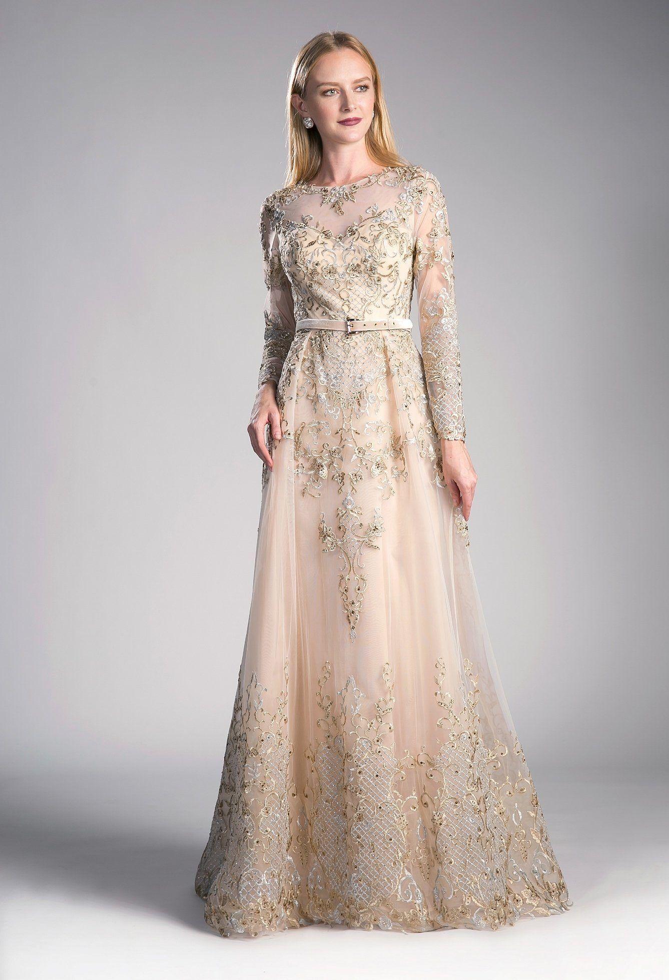 Applique Long Sleeve Gown By Cinderella Divine 7196 In 2021 Modest Evening Dress Cinderella Divine Empire Waist Gown [ 1958 x 1337 Pixel ]