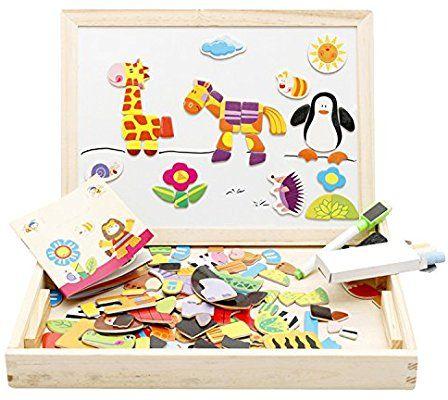 Amazon.com: Lewo Wooden Educational Toys Magnetic Art ...