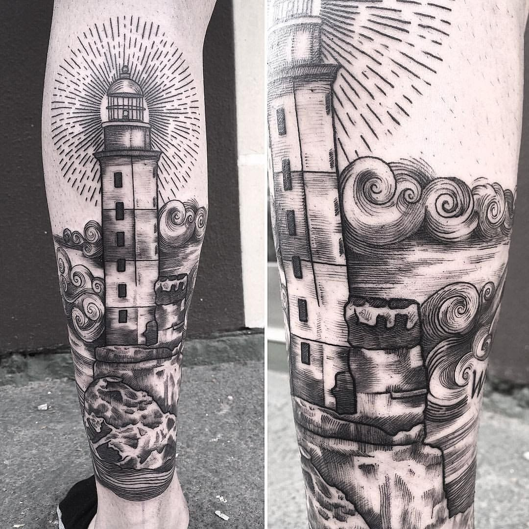 Lighthouse Linework, Tattoos, Lighthouse sketch