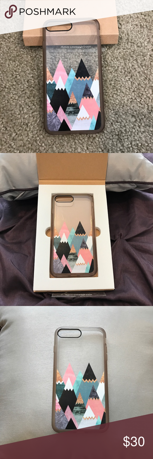 iPhone 7 Phone Case Phone case for iPhone 7+. Colorful Mountain design & clear background. In great condition.  Brand is casetify Casetify Accessories Phone Cases