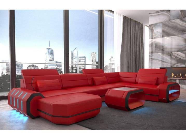 Sofa Dreams Wohnlandschaft Roma U Form Rot Ohne Bettfunktion Rot Schwarz Wohnzimmer Sofa Ecksofas Wohnen