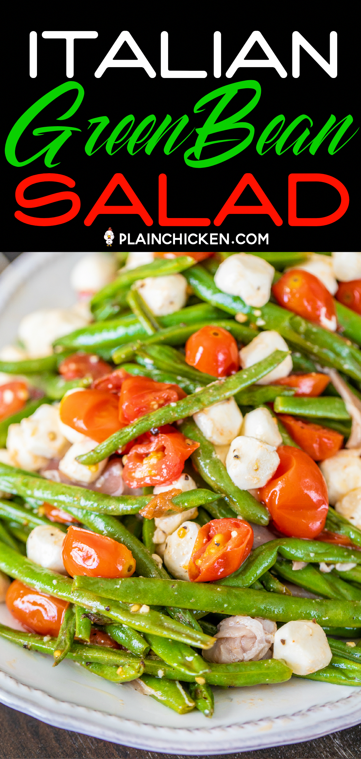 Italian Green Bean Salad - quick and delicious side dish! Green beans, tomatoes, garlic, olive oil, prosciutto, and mozzarella tossed in lemon juice and olive oil. Can serve hot or cold. Great for potlucks and cookouts. Can make in advance and refrigerate until ready to serve. Everyone always asks for the recipe! YUM! #salad #greenbeans #vegetable #dishesvegetable