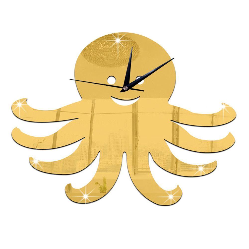 3D Decoration Kid Room Octopus Mirror Wall Clock golden | Mirror ...