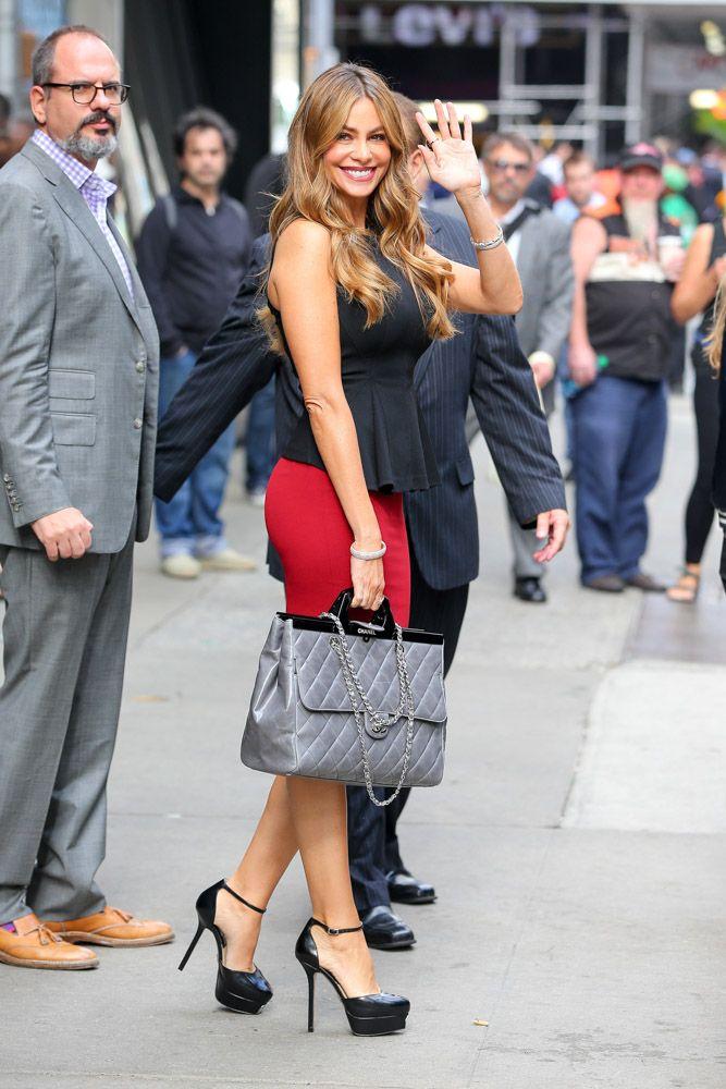 52728e9d5a6 Sofia Vergara Chanel Rigid Handle Shopping Bag