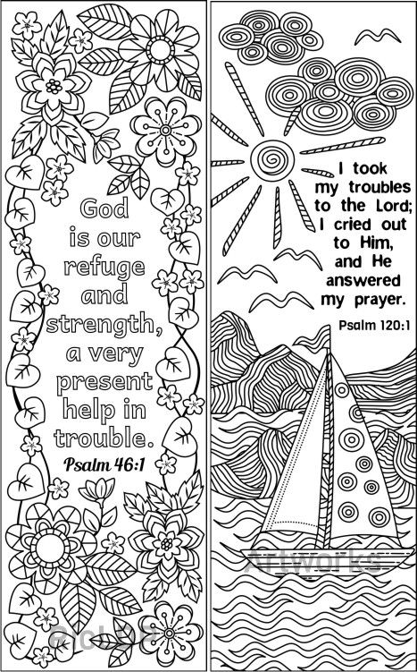 8 Bible Coloring Bookmarks Set 2 Bible Coloring Pages Adult