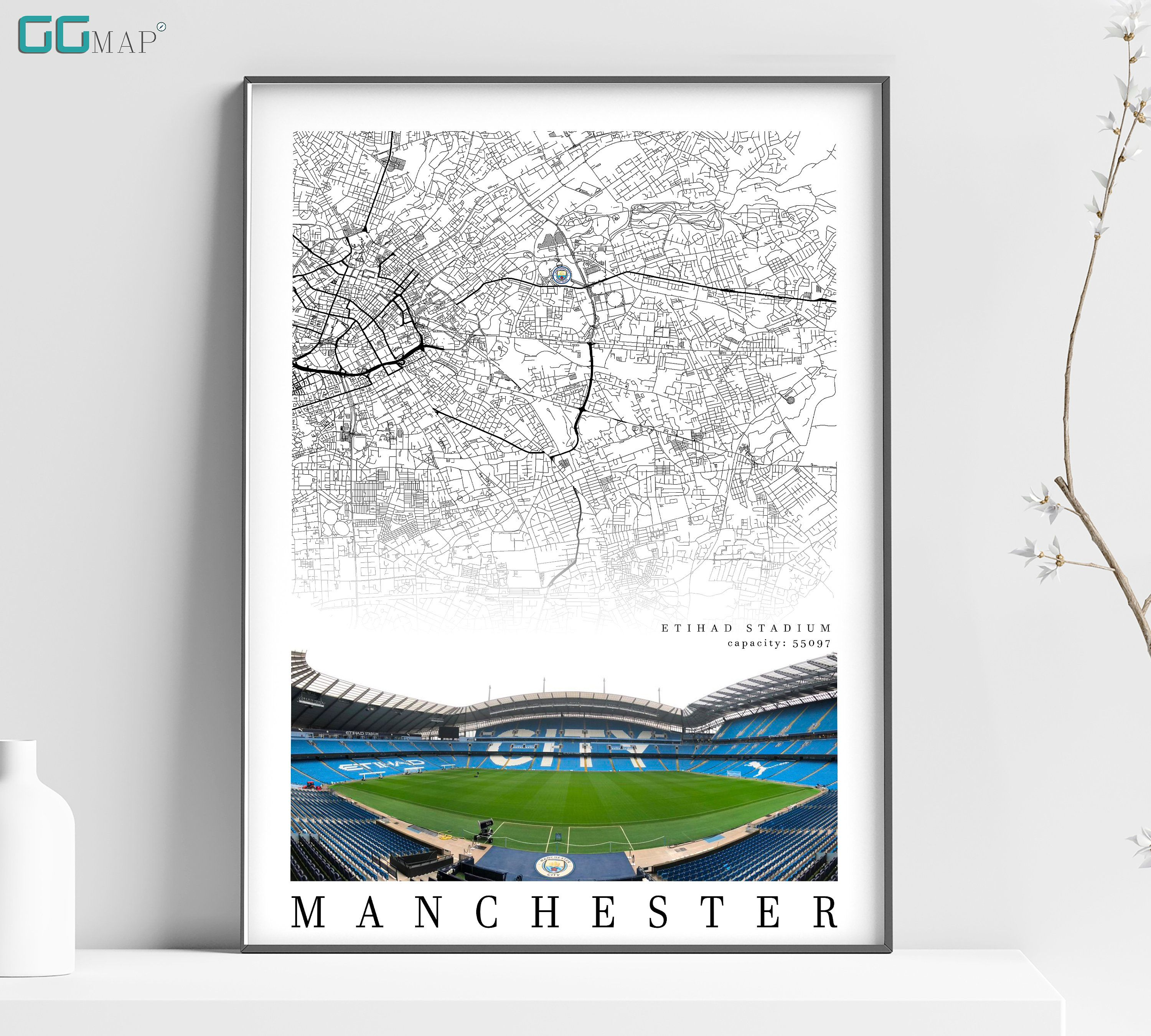 City Map Of Manchester Etihad Stadium Home Decor City Of Etsy Beautiful Wall Art Manchester City Gifts City Gifts
