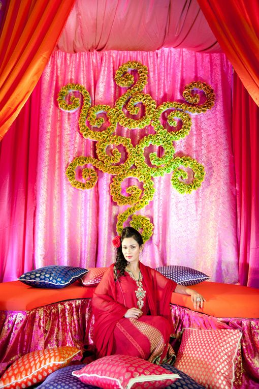 Indian mehndi backdrop from and for Sangeet decorations at home