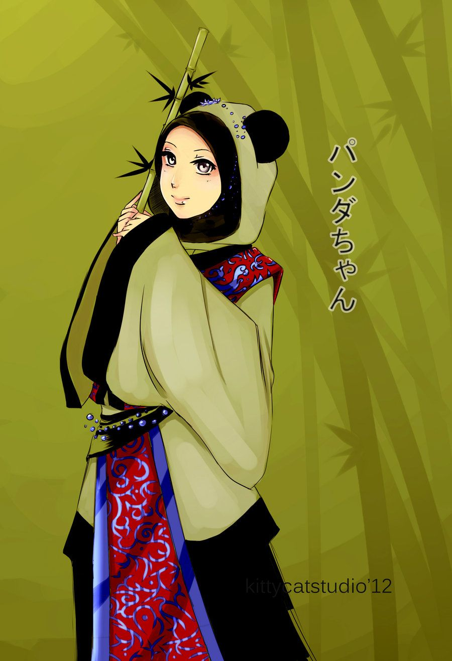 Hijabi Muslimah in Panda Dress Wanita, Kartun, Animasi