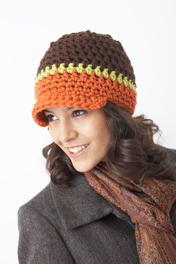 Bernat: Pattern Detail - Softee Chunky - Peak Hat | Newsboy hat ...