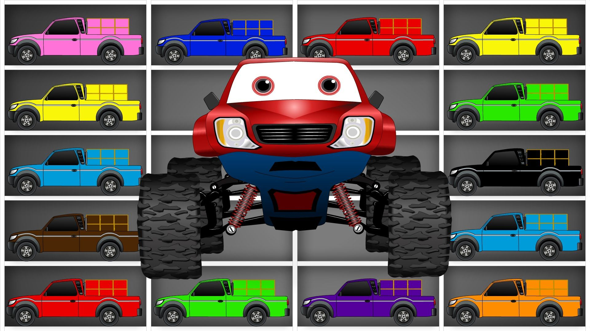 Learn Colors With Monster Truck Learning Color Names For Kids And Toddlers Colours Name For Kids Learning Colors Monster Trucks