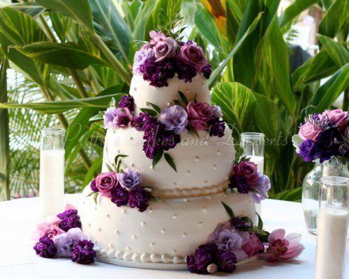 wedding-cake-purple-flowers-round | The Cake | Pinterest | Wedding ...