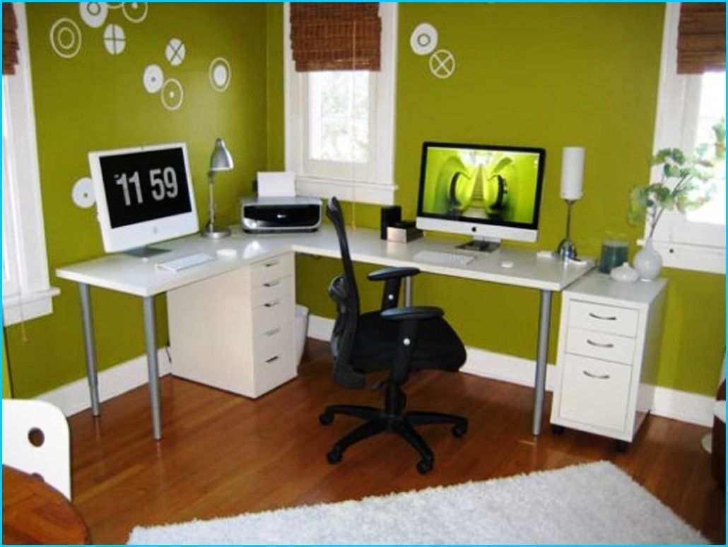 office decorating ideas colour. Decorating, Surprising Decorate Small Office Design Ideas Home Interior With Green Paint Wall And Laminate Flooring: Decorating Colour R