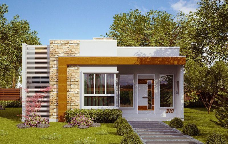 """Casa """"Natal"""" - Estilo moderno para casa pequena com 3 quartos e suíte - Plantas de Casas. 70 m2"""