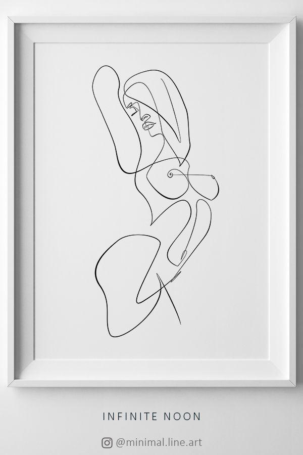 One Line Female Print, Line Art Woman Drawing, Body Line Profile, Abstract Nude Sketch Printable, Single Line Figure, Feminine Wall Art
