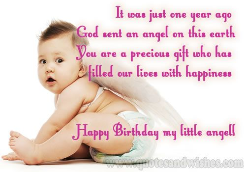 First 1st Happy Birthday Card Greeting Cards Wishes And Images For Cute Little Angels One Year Old