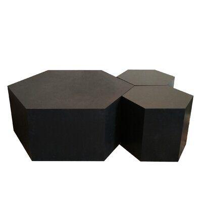Hammers And Heels Hexagon Wood Modular Geometric Coffee Table Size