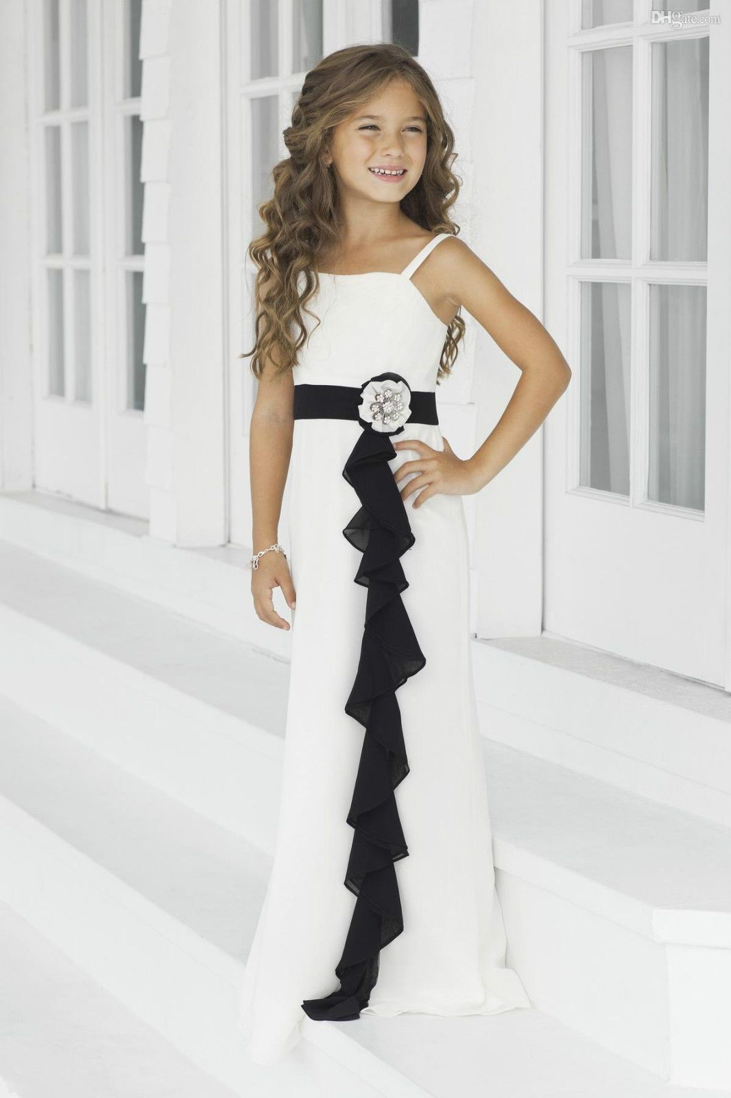 chiffon girl kid pageant dress formal dance party prom dresses