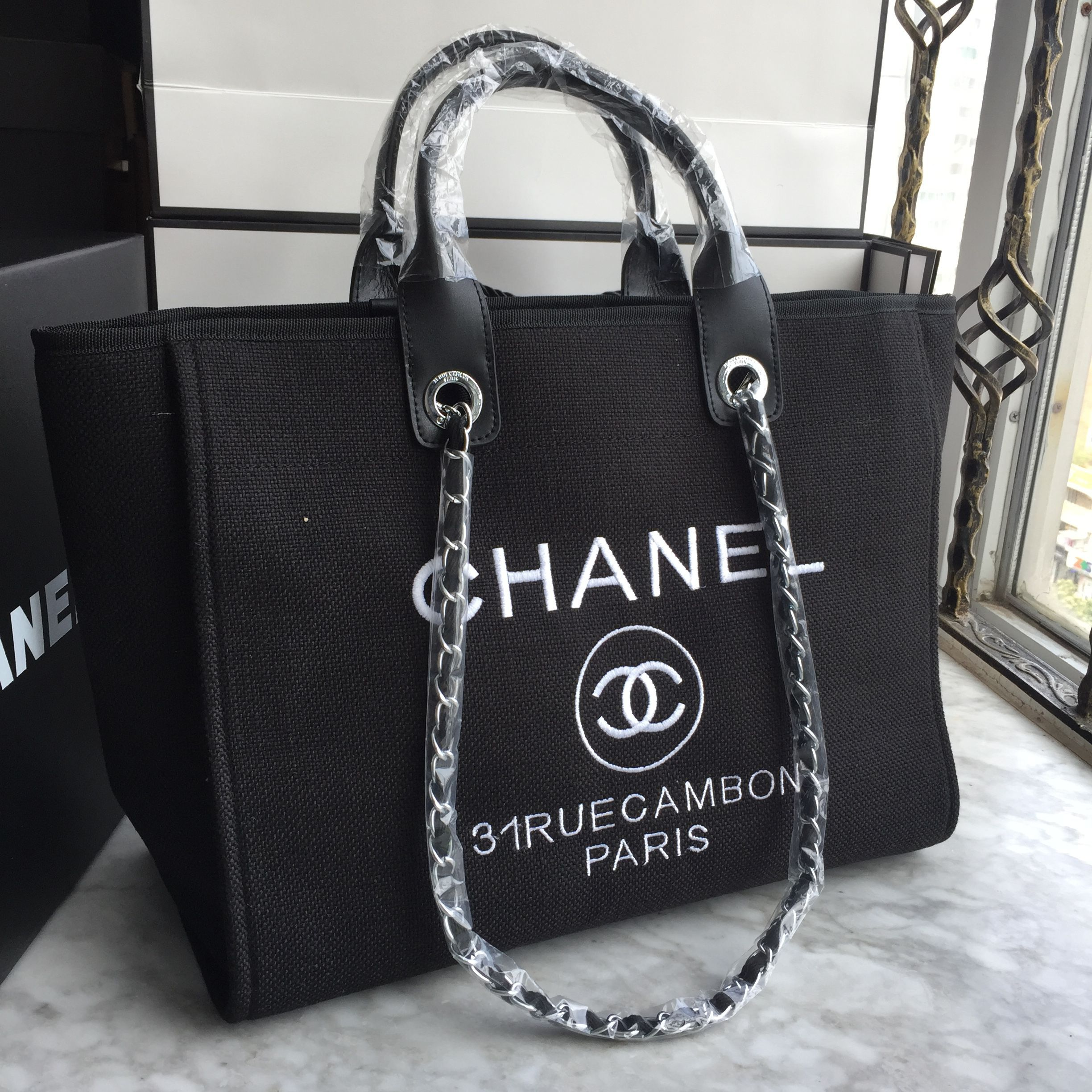 Chanel woman cabas canvas shopping tote bag black   Bags in 2019 ... 938055e462