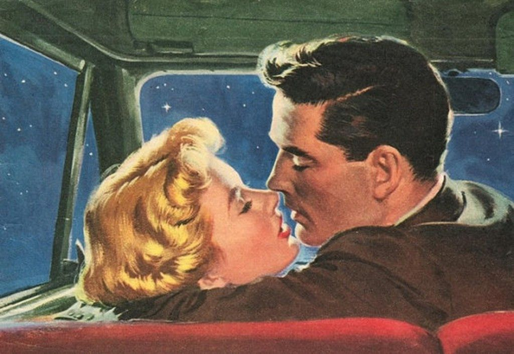 Put your head on my shoulder music romantic pinterest vintage graphic fridge magnet couple kissing in car romance love at night sciox Gallery