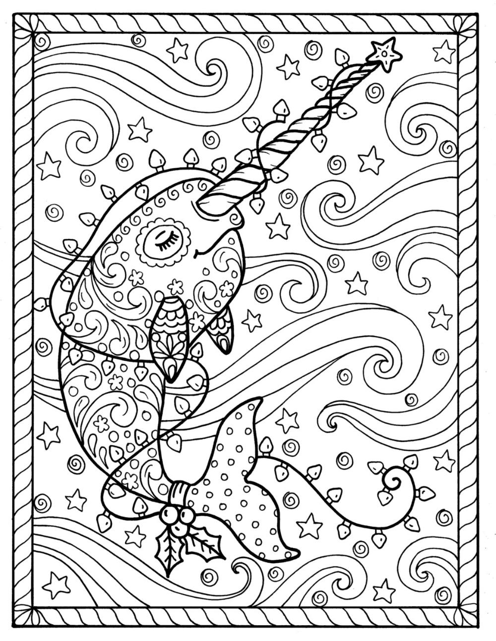 Narwal kerst kleurplaten pagina's volwassen kleurboeken
