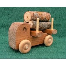 Wooden Trucks & Cars: Handmade Wood Toy Small Logger Truck