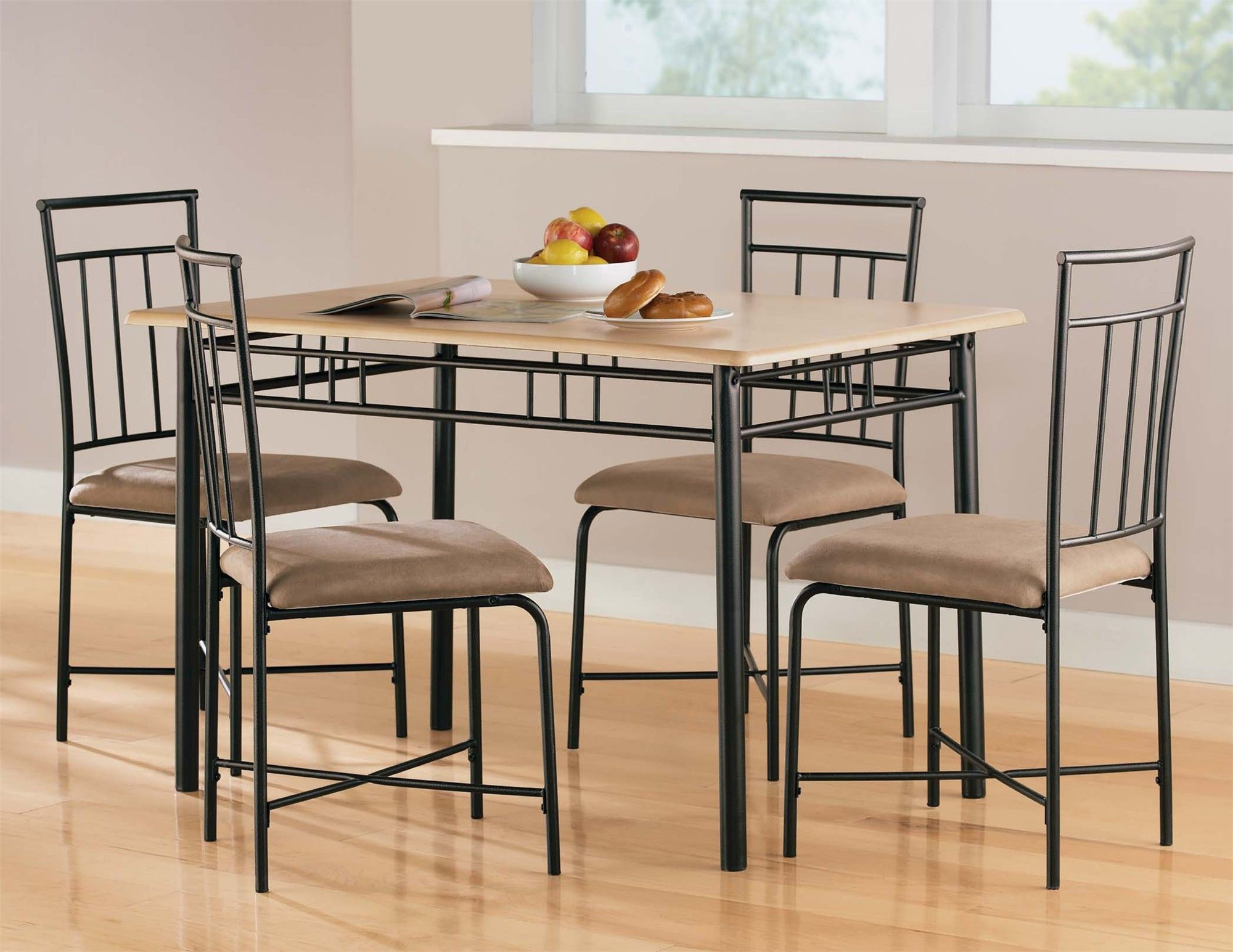 5 Piece Dining Set Wood Metal 4 Chairs Table Kitchen Breakfast Furniture NEW