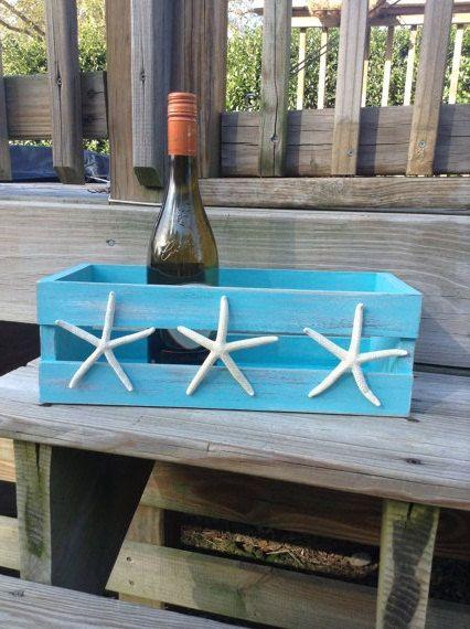 Beach House Decor Shabby Chic Storage Crate With Starfish Beach