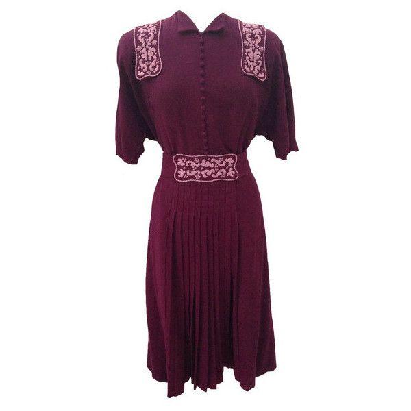 1940s beadwork maroon vintage dress ($18) ❤ liked on Polyvore featuring dresses, vintage dresses, textured dress, purple vintage dress, wool dress and purple dress