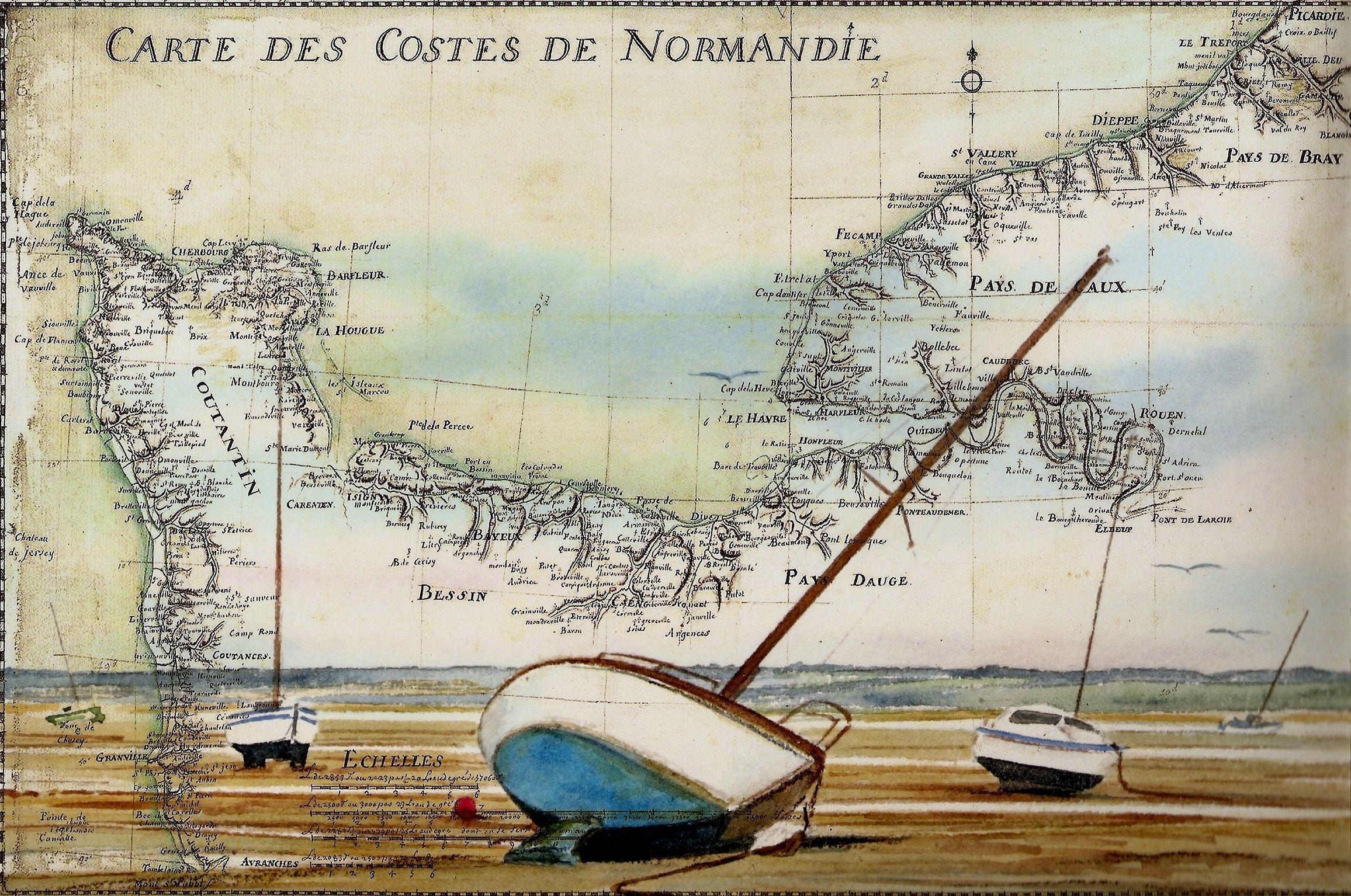 Aquarelle Sur Carte Marine Format 54 X 76 Cm Par Michel Guillard