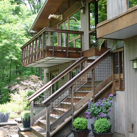 Ski House Railings Design Ideas Pictures Remodel And Decor Rustic Exterior Wire Deck Railing Deck Stairs