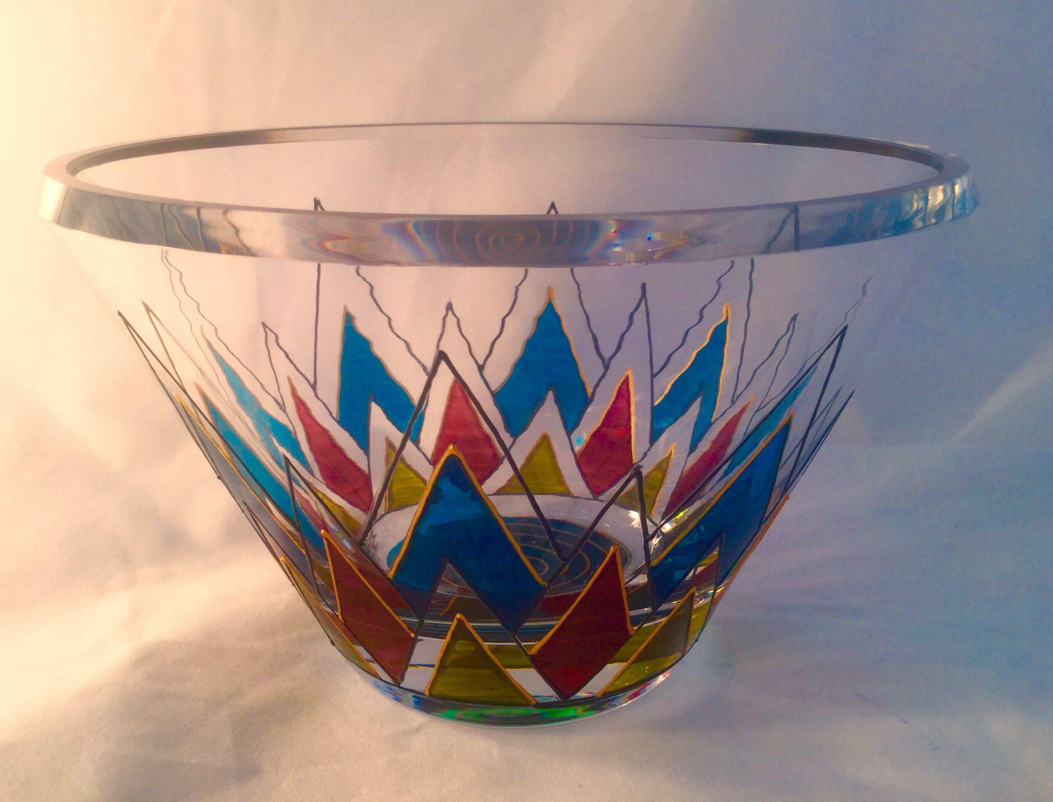 "Mindy Sand Studio, 3 cut crystal bowl in my ""art Deco"" design"