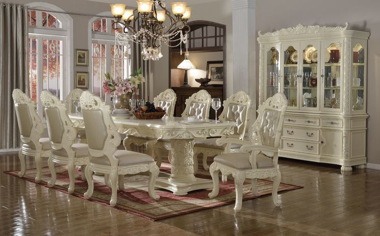 Madrid 9 Piece Dining Set All White Room Dining Table In