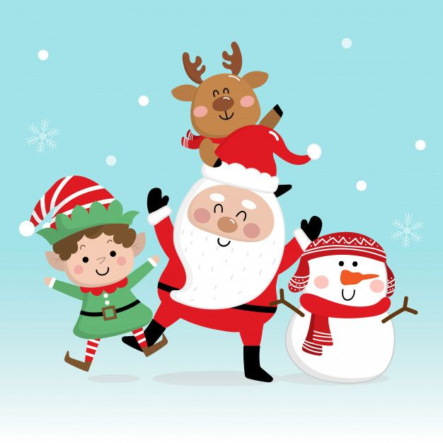 Merry Christmas And Happy New Year Greeting Card With Santa Claus