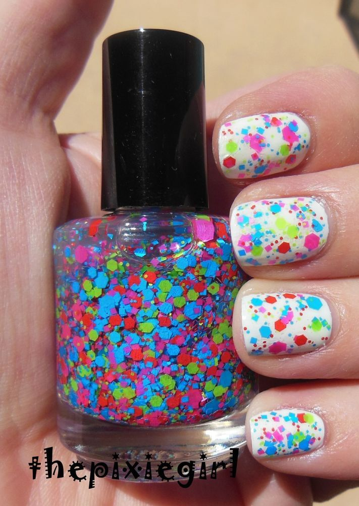 Bright Neon Glitter Indie Nail Polish Top Coat Lacquer Handmade 15mL Full Size #Handmade