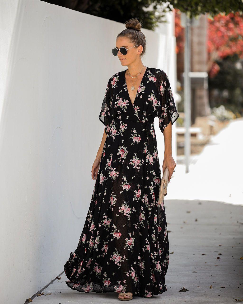 Every Rose Swiss Dot Wrap Kimono Maxi Dress Final Sale Extra Small Kimono Maxi Dress Maxi Dress Long Sleeve Floral Maxi Dress [ 1280 x 1024 Pixel ]
