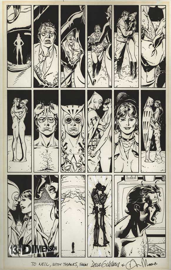 watchmen alan moore dave gibbons the original page of art of the nuclear bomb nightmare. Black Bedroom Furniture Sets. Home Design Ideas