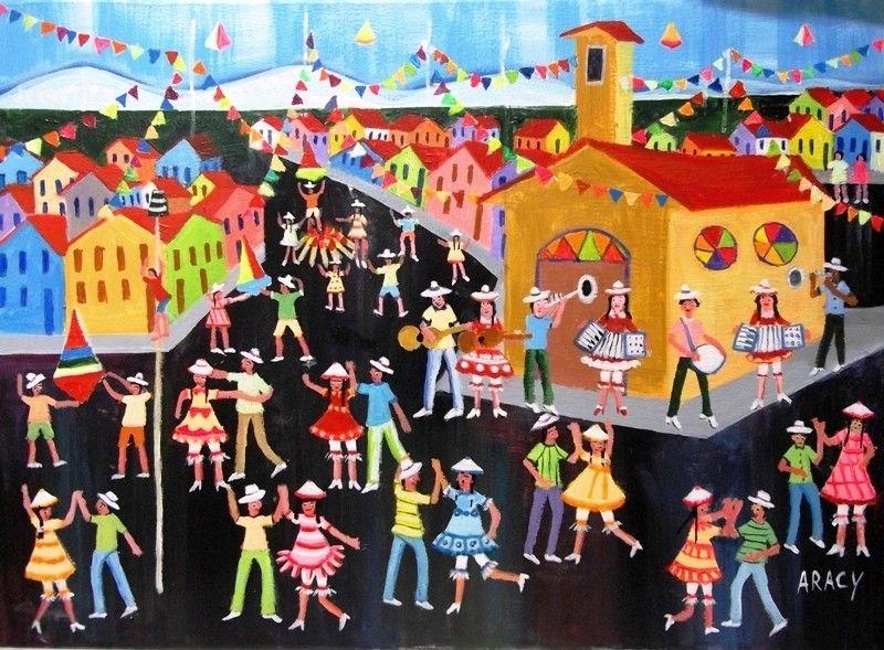 arte naif para colorir festa junina - Pesquisa Google
