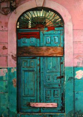 Puerta antigua puertas balcones portales y ventanas for Pintura para marcos de puertas y ventanas