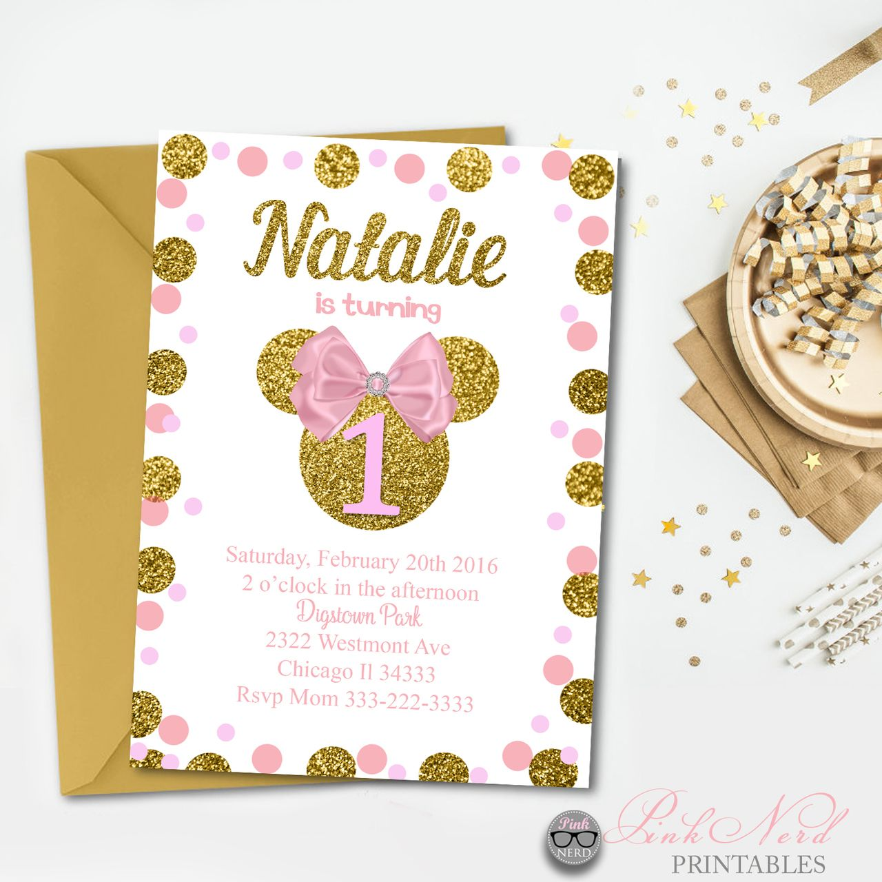 Minnie Mouse birthday invitation pink bow design | Minnie mouse ...