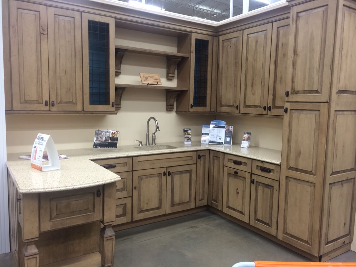 Home Depot Kraftmaid Kitchen Cabinets Booths Dillon Rustic Maple Distressed Husk Kitchens